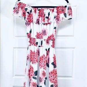 White House black market off shoulder floral gown